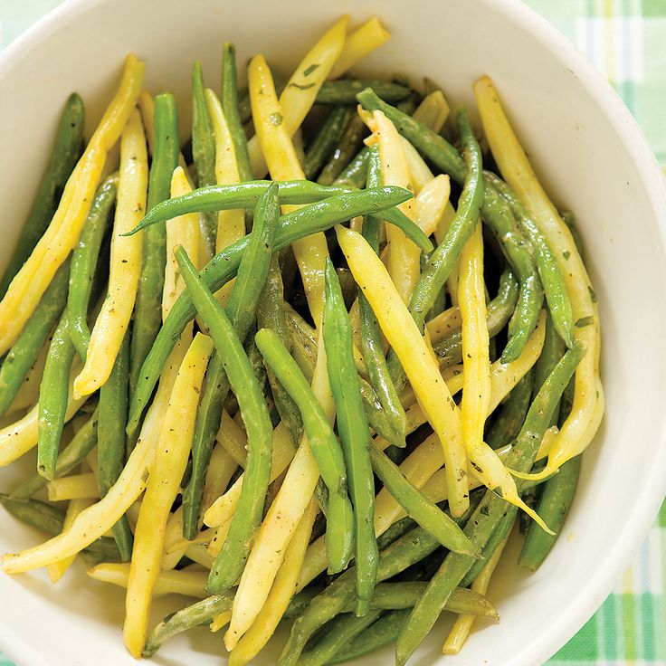 This salad is best served cold but can be served at room   temperature for a picnic or barbecue. If you can't find yellow wax   beans, use 2 pounds green beans.  If you can't find tarragon, fresh dill and parsley also work well.