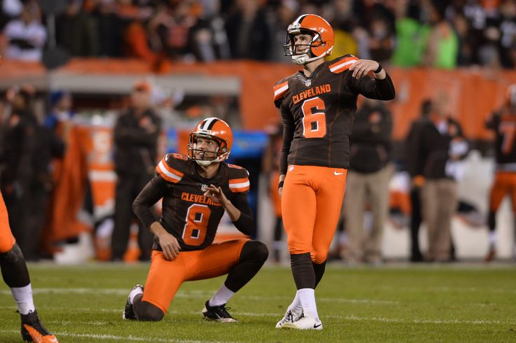 Nov 30, 2015; Cleveland, OH, USA; Cleveland Browns punter Andy Lee (8) and Cleveland Browns kicker Travis Coons (6) during the second quarter at FirstEnergy Stadium. (2500×1667)