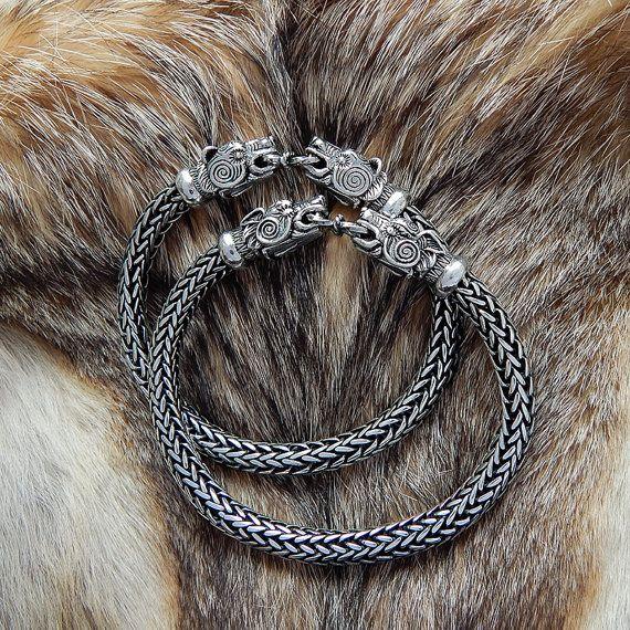 VIKING Silver Wolf Head Bracelet. Bear Head Bracelet. Massive Viking Sterling Silver Bracelet.VIKING BEAR Bracelet. Wolves Torc. Fenrir