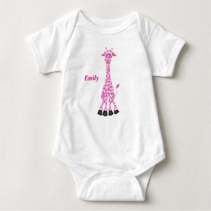 #Kid's Cute Pink Giraffe Baby Bodysuit - #cute #gifts #cool #giftideas #custom