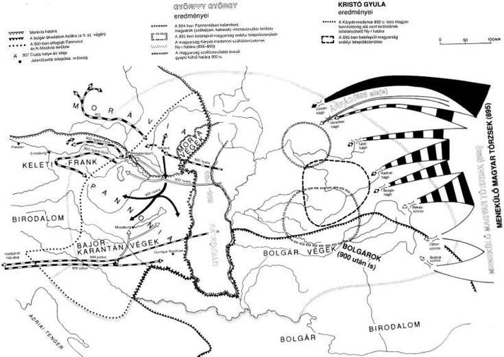 The conquest of the Carpathian Basin (After György Györffy and Gyula Kristó designed by Attila Zsoldos) Korai magyar történeti lexikon (9-14. század). Foszerk.: Kristó Gyula, szerk.: Engel Pál és Makk Ferenc. Akadémiai Kiadó, Budapest, 1994, pages 272-273.