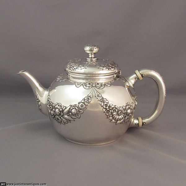 Repousse Sterling Teapot at J.H.Tee Antique Silver