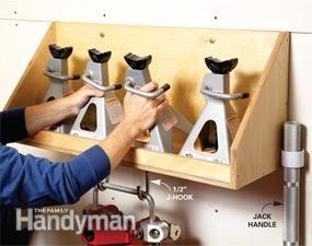 Upgrading Your Garage Workshop jack stand and floor jack storage shelf.