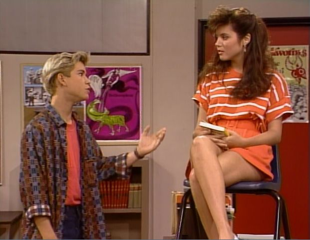 "Saved by the Bell, 1x07, ""The Substitute,"" aired 30 Sept. 1989.  Zachary ""Zack"" Morris is played by Mark-Paul Gosselaar and Kelly Kapowski is played by Tiffani-Amber Thiessen. They're reciting Romeo and Juliet by William Shakespeare. Zack: ""Her eyes in heaven shown so bright / That birds would sing and think it were not night / O, see how she leans her cheek upon her hand / O, that I were a glove upon that hand, / That I might touch that cheek!"" Kelly, impressed: ""Whooh!"""