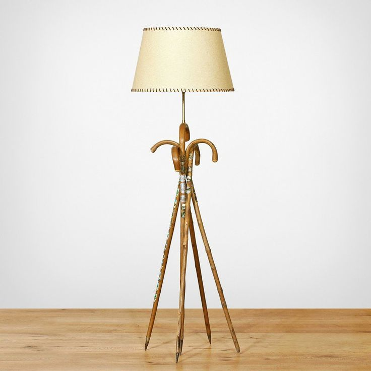TREKKER FLOOR LAMP • Vintage wooden walking sticks • Pairs with our natural parchment shade with   chocolate leather stitching (included) • 1 x Edison Screw globe, max 60W (included) http://www.momu.com.au/index.php/lighting/floor-lamps/trekker-floor-lamp.html