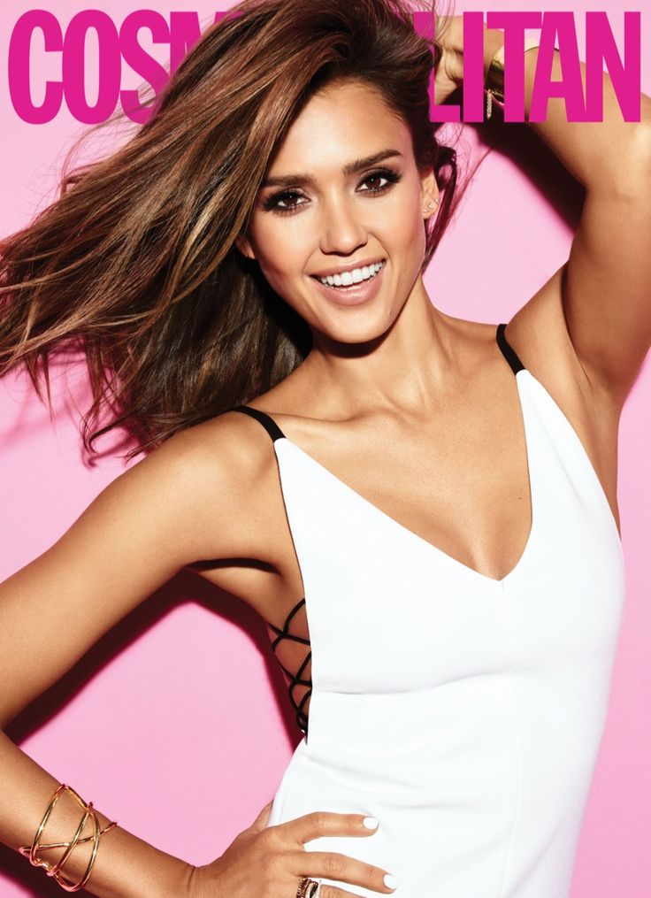 Jessica Alba is all smiles in a white dress for Cosmopolitan Magazine March 2016 issue