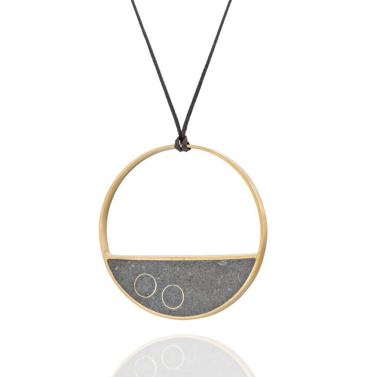 Long Statement Balance Concrete Necklace, in Gold, by BAARA Jewelry