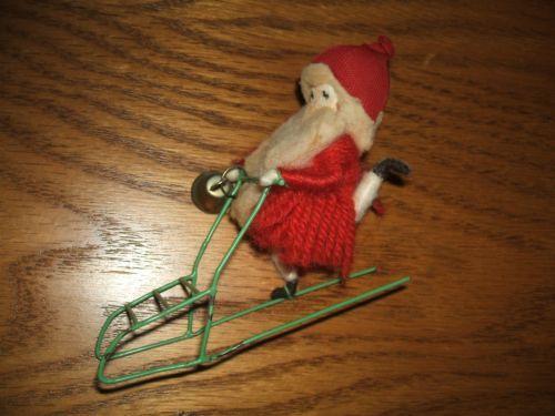 Antique vintage santa w sleigh amp bell christmas ornament cute euc