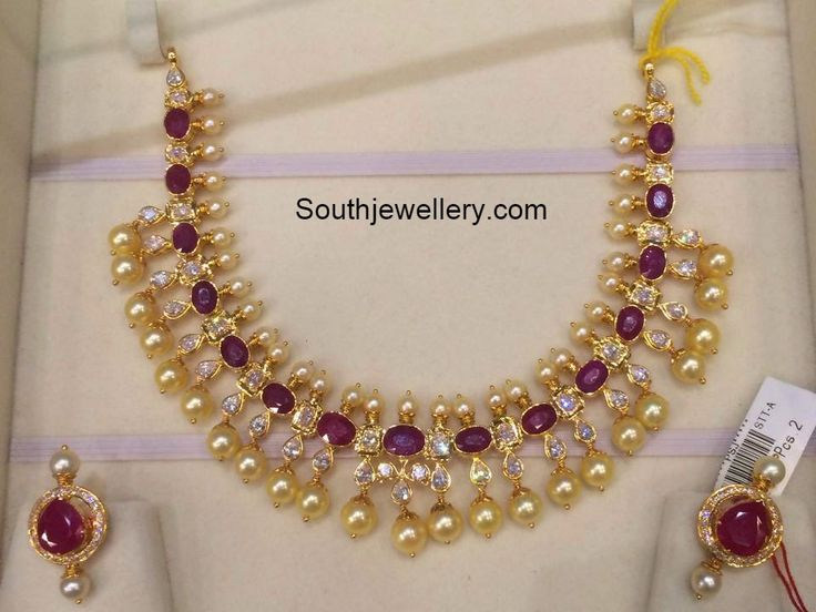 Ruby South Sea Pearls Necklace ~ Latest Jewellery Designs