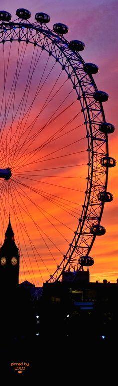 Sunset silhouette - title London - by Vladimir Brovko