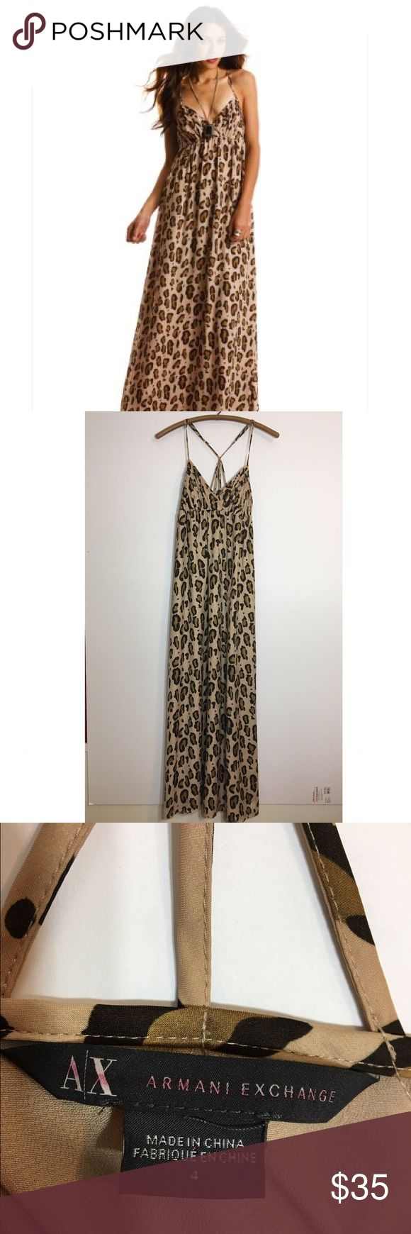 Armani Exchange Leopard Maxi dress Cute. Light wear. Small stain on upper back pictured A/X Armani Exchange Dresses Maxi