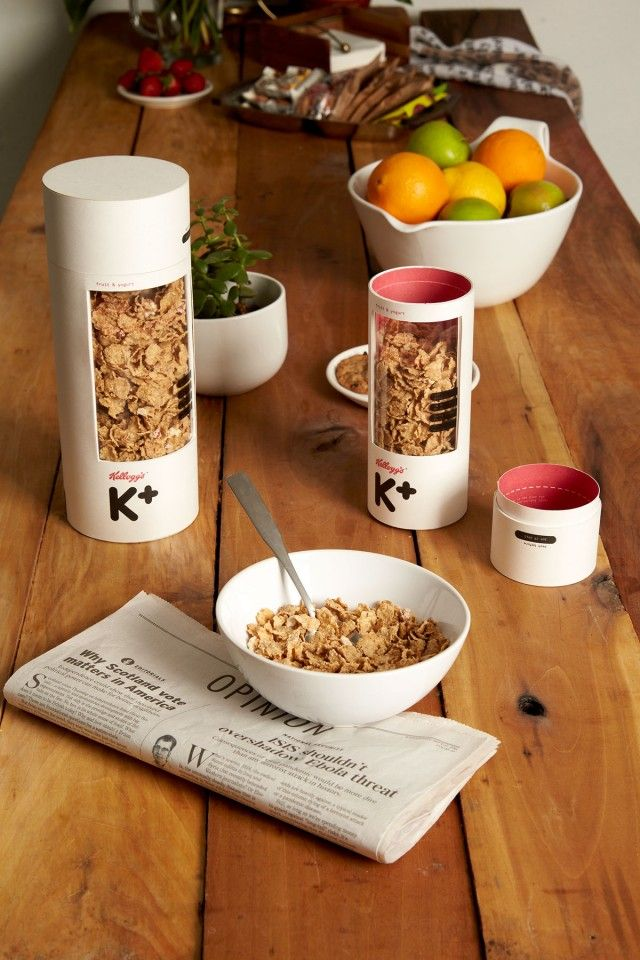 """A Redesign of Kelloggs Special K Package  California-based graphic designer Mun Joo Jane has recently refreshed the packaging of the Kellogg's – """"Special K"""" cereals in a very creative, aesthetic and more mature redesign. She gave to the packaging a cylindrical shape with measures put on the box, far from the idea we have of a traditional cereals packet."""