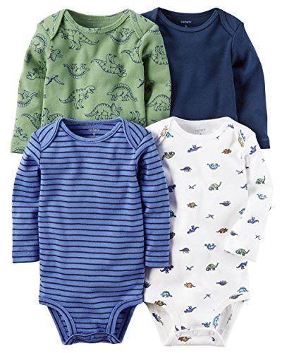 William Carter Baby Boys' 4 Pack Long Sleeve Bodysuits Undershirt Set (Baby) Dinosaurs, 6 Months #babyundershirts