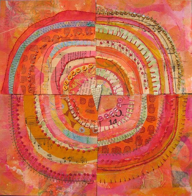 Jane LaFazio...Look closely...beads, buttons, sewing, gelli prints, doodling. Looks like four different but similar pieces made, cut apart and reassembled. You'd get four different pieces. Absolutely love it. Colors are awesome.