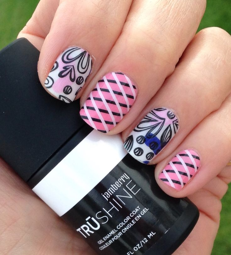 Having fun with the new wraps from the Jamberry Fall 2016 designs! Check these and more out at http://tamihoiseth.jamberry.com  Funky Fresh over Porcelain gel and Overlap on pink Petal To The Metal lacquer.