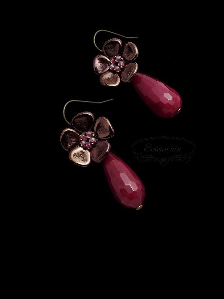Rose Petals earrings with jadeite drops