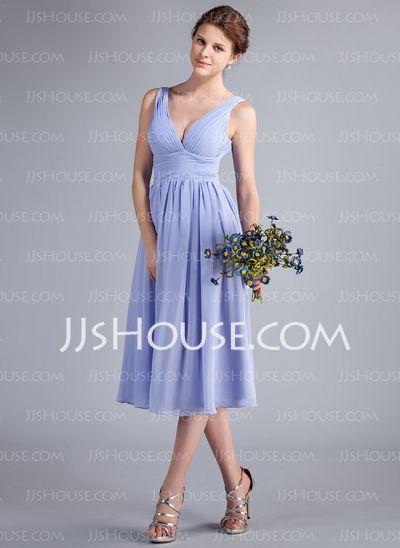 Bridesmaid Dresses - $99.99 - A-Line/Princess V-neck Tea-Length Chiffon Bridesmaid Dress With Ruffle (018026262) http://jjshouse.com/A-Line-Princess-V-Neck-Tea-Length-Chiffon-Bridesmaid-Dress-With-Ruffle-018026262-g26262