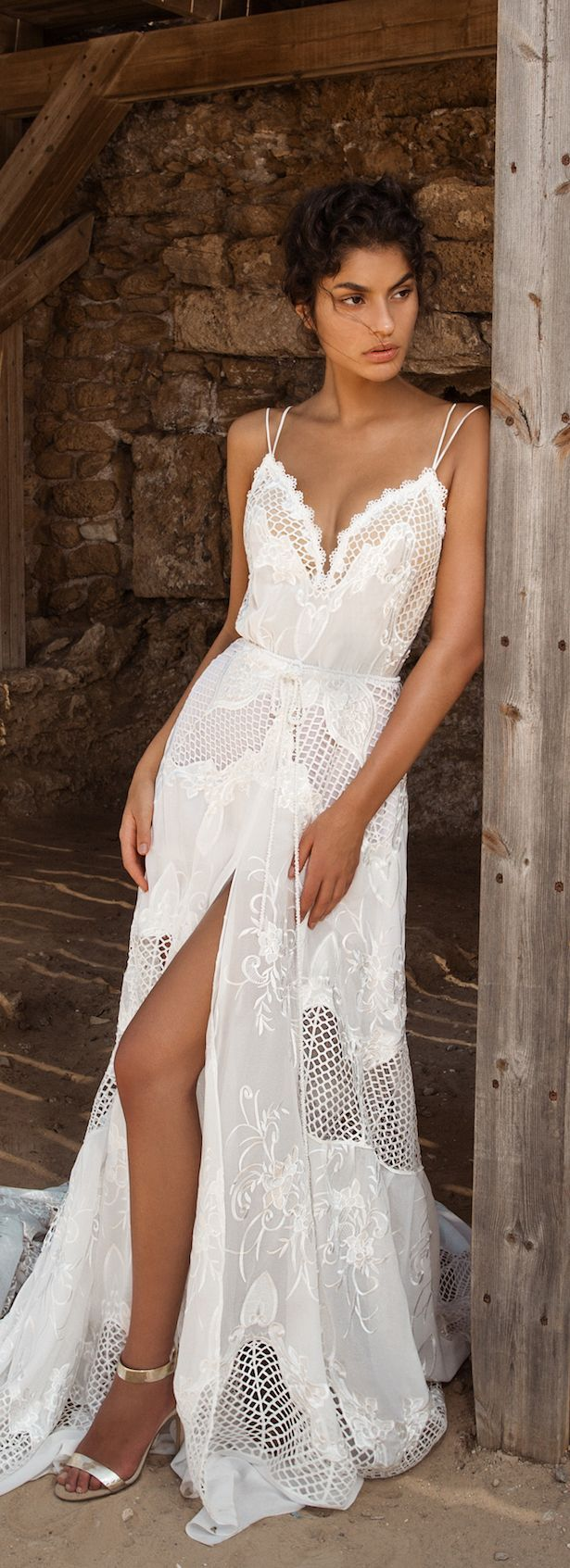 Simple boho wedding dress with spaghetti straps, open split skirt and embroidery perfect for the rustic bride or outdoor wedding. Wedding Dress - GALA Collection NO. III by Galia Lahav