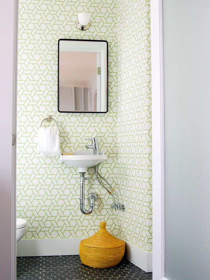 17 Clever Ideas For Small Baths Diy Bathroom Ideas Small Bathroom And Graphic Wallpaper