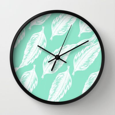 Feathered Feels wall clock by Belinda Gillies - available on Society6!