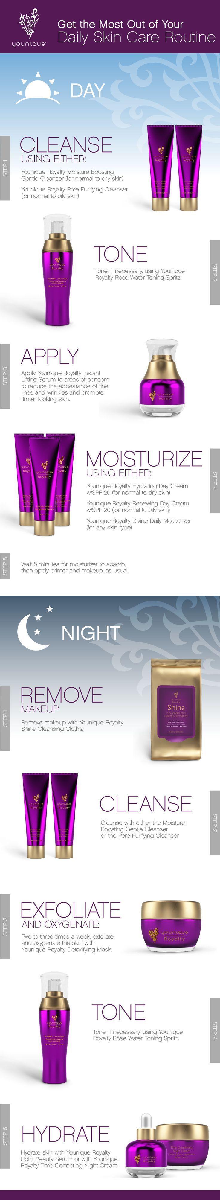 Tägliches Hautpflegeprogramm mit der Younique Royalty-Hautpflegeserie. Melde dich kostenlos an