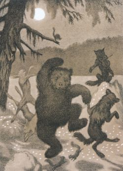 "rikkemarie: "" Theodor Kittelsen - Dans i Maaneglans (Dance in the Moonbeam) (1901) Kittelsen was a Norwegian artist who made lots of folk fairytale illustrations. """