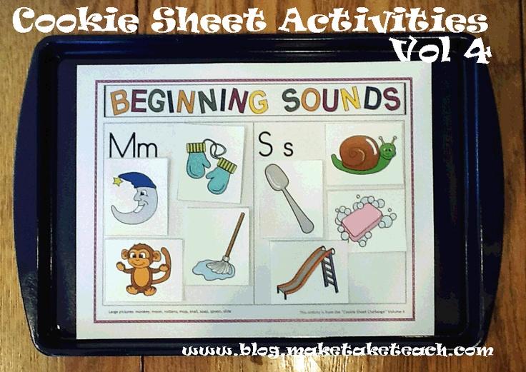 Beginning sounds cookie sheet activities.