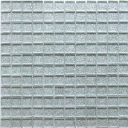 GLITTER SILVER GLASS MOSAIC TILES
