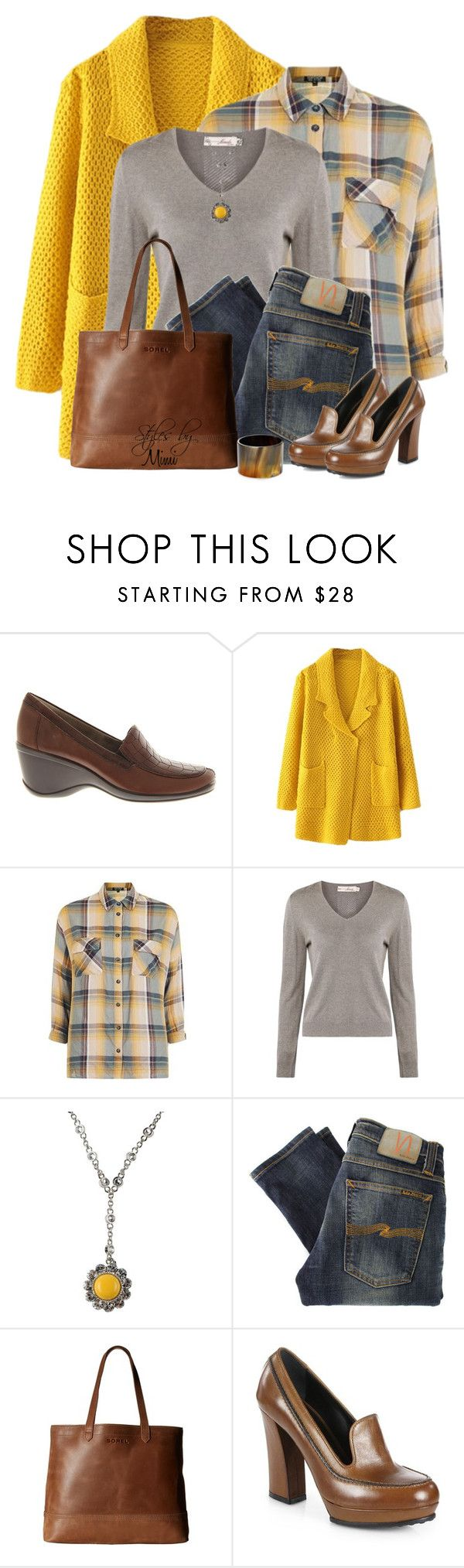 """""""Sunny Sweater Coat (11.8.16)"""" by stylesbymimi ❤ liked on Polyvore featuring Naturalizer, Topshop, Miu Miu, Nudie Jeans Co., SOREL, Tod's and Robert Lee Morris"""