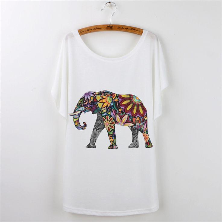 Mode 2016 D'été T-shirt Femmes T-shirt Harajuku Éléphant Animal Print Manches Courtes Camisetas Mujer Blanc T shirt Femmes Tops