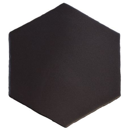 Carrelage hexagonal mat noir 15 x 15 cm he0811007 for Carrelage noir mat