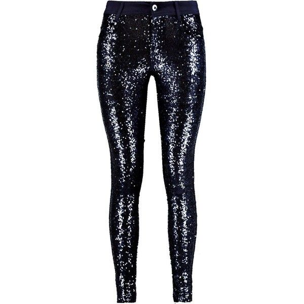 Royah Sequin Front Super Skinny Trousers ❤ liked on Polyvore featuring pants, sports trousers, sport pants, sports pants, skinny pants and sequin skinny pants