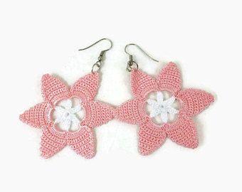 Light Pink Flower Earrings, Crochet Flower Earrings, Star Earrings, Crochet Jewelry, Dangle Motif Earrings, Boho Hippie Jewelry