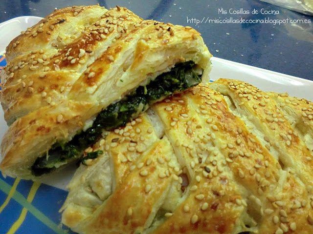 Trenza de Hojaldre con jamón espinacas y queso - Mis Cosillas de Cocina