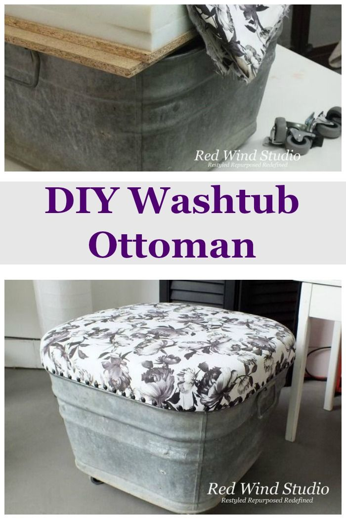 Using an old washtub this clever designer created a DIY  ottoman with wheels ~ fabulous!