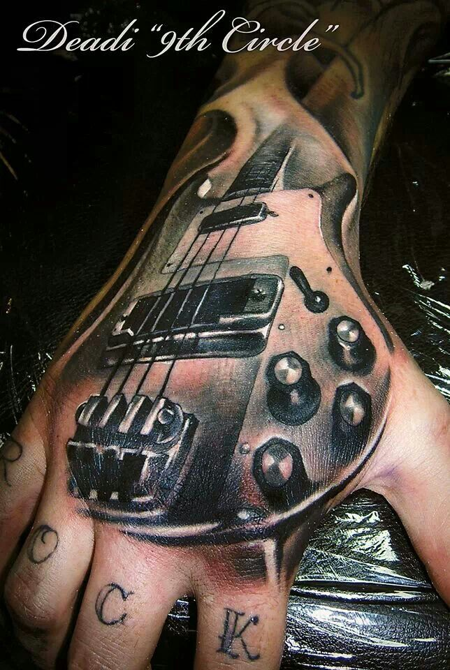 Awesome guitar hand tattoo amazing tattoos pinterest for Electric hand tattoo