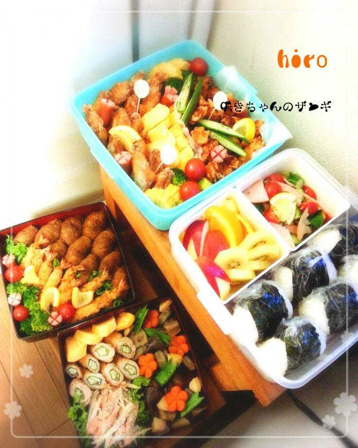 Hiro's dish photo 咲きちゃんさんのうちの ザンギ   鶏のから揚げ 入りの小学校運動会弁当   http://snapdish.co #SnapDish #レシピ #お弁当 #お昼ご飯 #運動会 #揚げ物