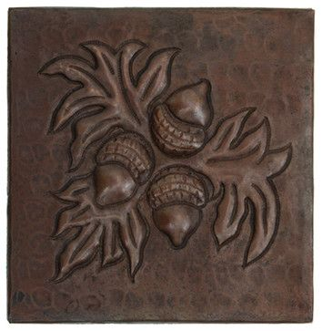 Hand Hammered Acorn Design Copper Tile Traditional Accent Trim And Border