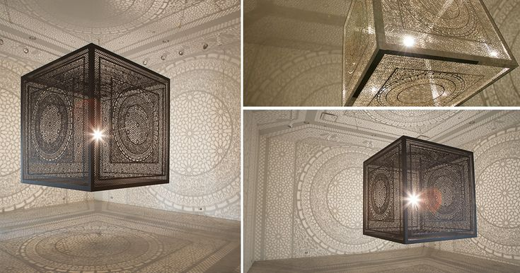 Intersections, 2013. 6.5' Cube, projected Shadows: 35' x 32'. Intersections, 2013. 6.5' Cube, projected Shadows: 35' x 32'. Created by mixed media artist Anila Quayyum Agha, this elaborately carved cube with an embedded light source projects a dazzling pattern of shad