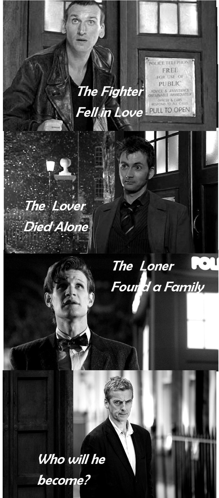 Doctor Who: The Four Doctors. Nine: Eccleston, Ten: Tennant, Eleven: Smith, Twelve: Capaldi.