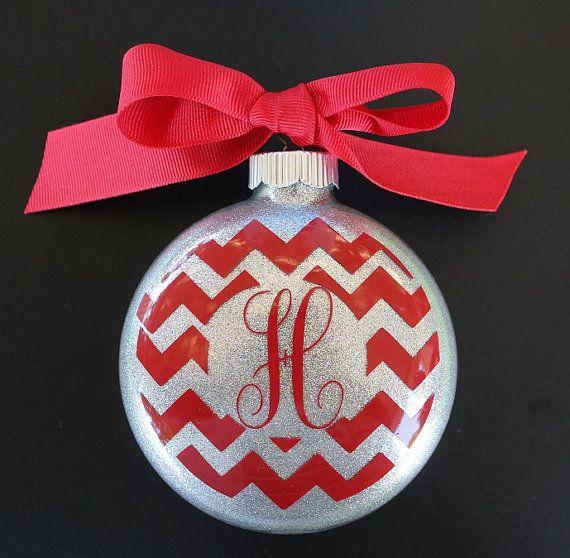 Chevron Monogram Christmas Ornament