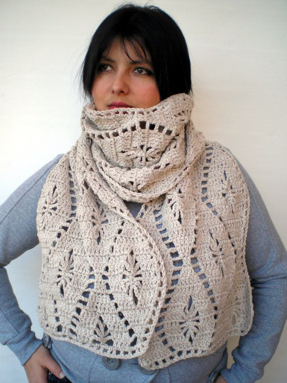 Linem Color Weavw Scarf Hand Crocheted Scarf Woman  by NonnaLia, $75.00