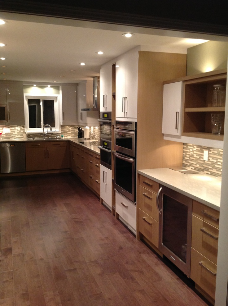 White lacquer and wood cabinets rooms we like pinterest for Aster kitchen cabinets