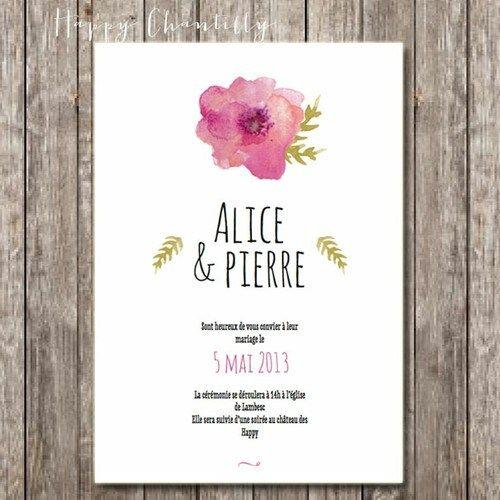 faire-part de mariage original, vintage et romantique avec une jolie fleur peinte à l'aquarelle