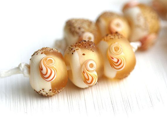 Etched lampwork beads Trio in Light Amber Yellow by MayaHoney  #forsale #etsy #glass #handmade #homemade #shopping #handcrafted #jewelrymaking #lampwork #mayahoney #beads #beach #shells #seaglass