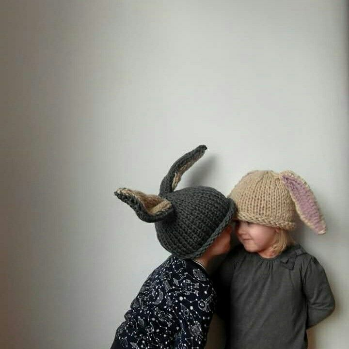 Childrens hand knitted merino wool rabbit hats by So Satsuma - think you might like doing this @go4dividee