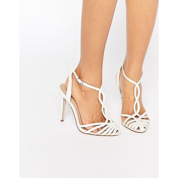ASOS PRIME Bridal Heeled Shoes ($23) ❤ liked on Polyvore featuring shoes, sandals, white, white high heel sandals, asos sandals, bride shoes, prom sandals and bride sandals