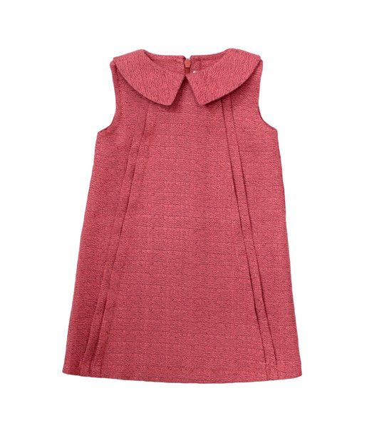 Textured Dress with Collar in Strawberry