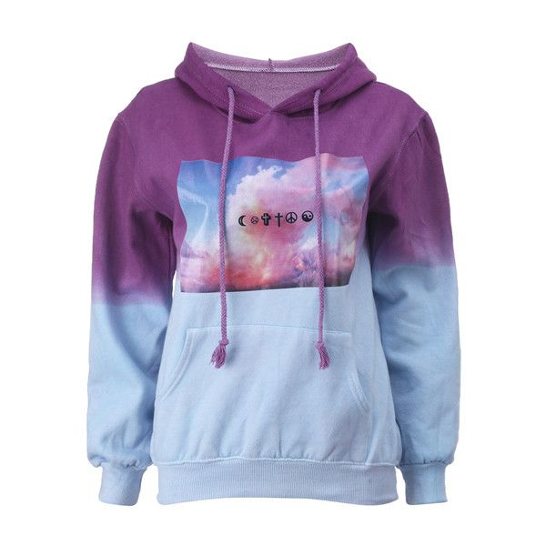"""Contrast Color """"Blue Sky & White Cloud"""" Hoodie (£19) ❤ liked on Polyvore featuring tops, hoodies, shirts, sweaters, jackets, hooded pullover, hooded shirt, collared shirt, hooded sweatshirt and blue shirt"""