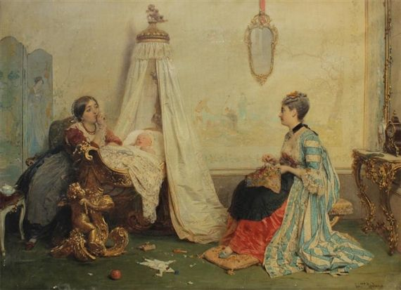 Gerolamo Induno - Scena del genere di interni con due giovani donne in un vivaio con il sonno del bambino